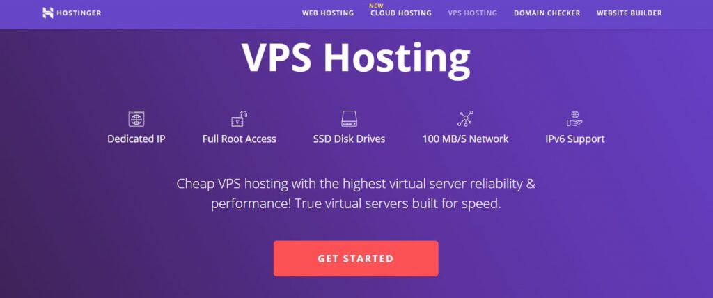 Hostinger VPS oldal