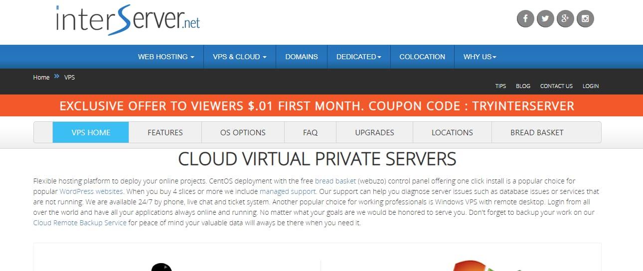 Interserver top Cloud vps