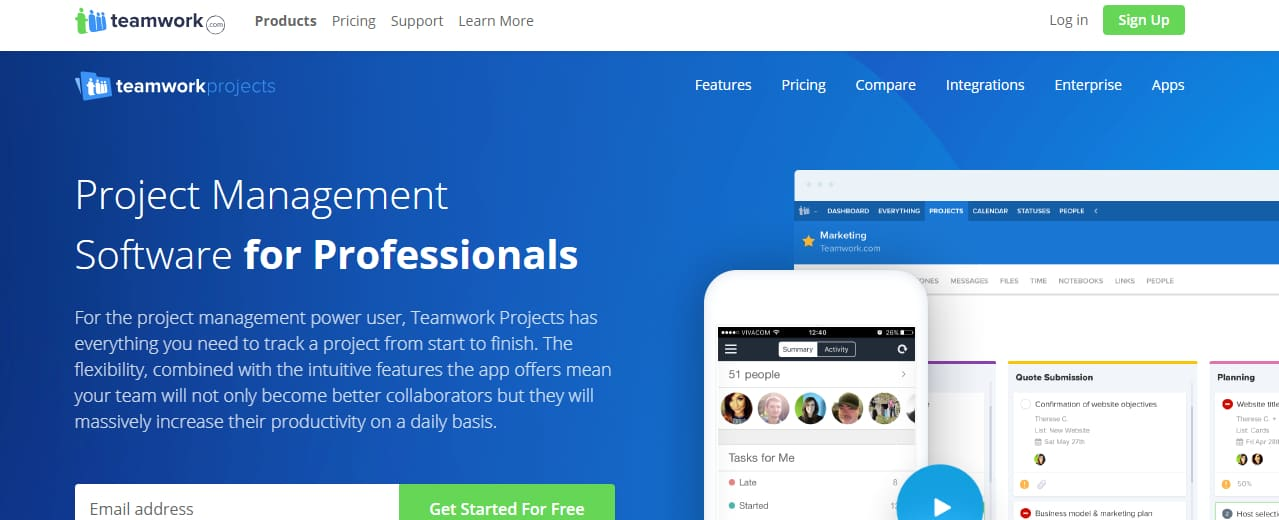 TeamWork Top project management tool