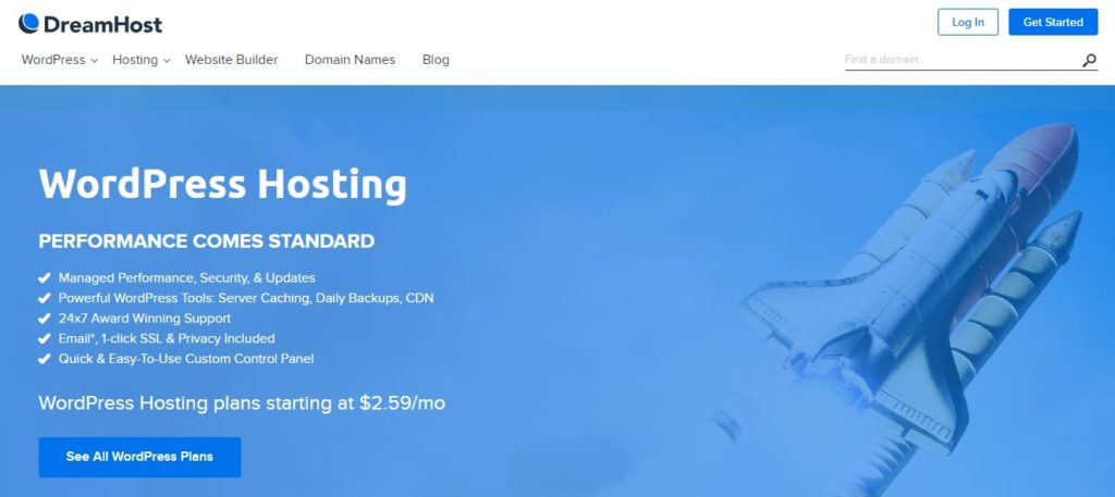 DreamHost Top WordPress hosting