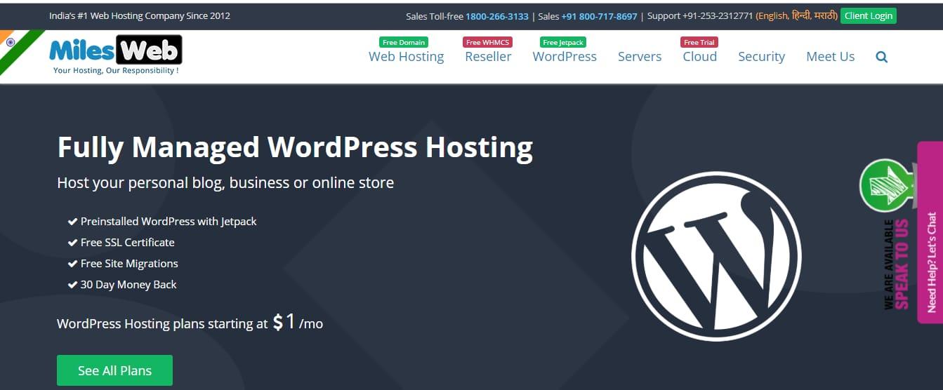 Milesweb Cheapest conseguiu hospedagem wordpress