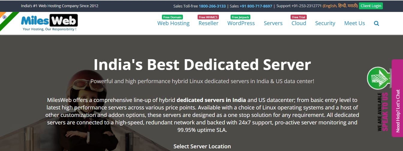 MilesWeb Affordable dedicated Server